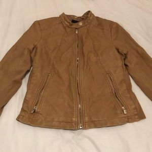 Express | Brown/Tan Leather Jacket | Gold Zipper